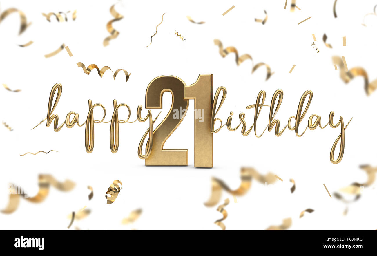 Happy 21st birthday gold greeting background. 3D Rendering - Stock Image
