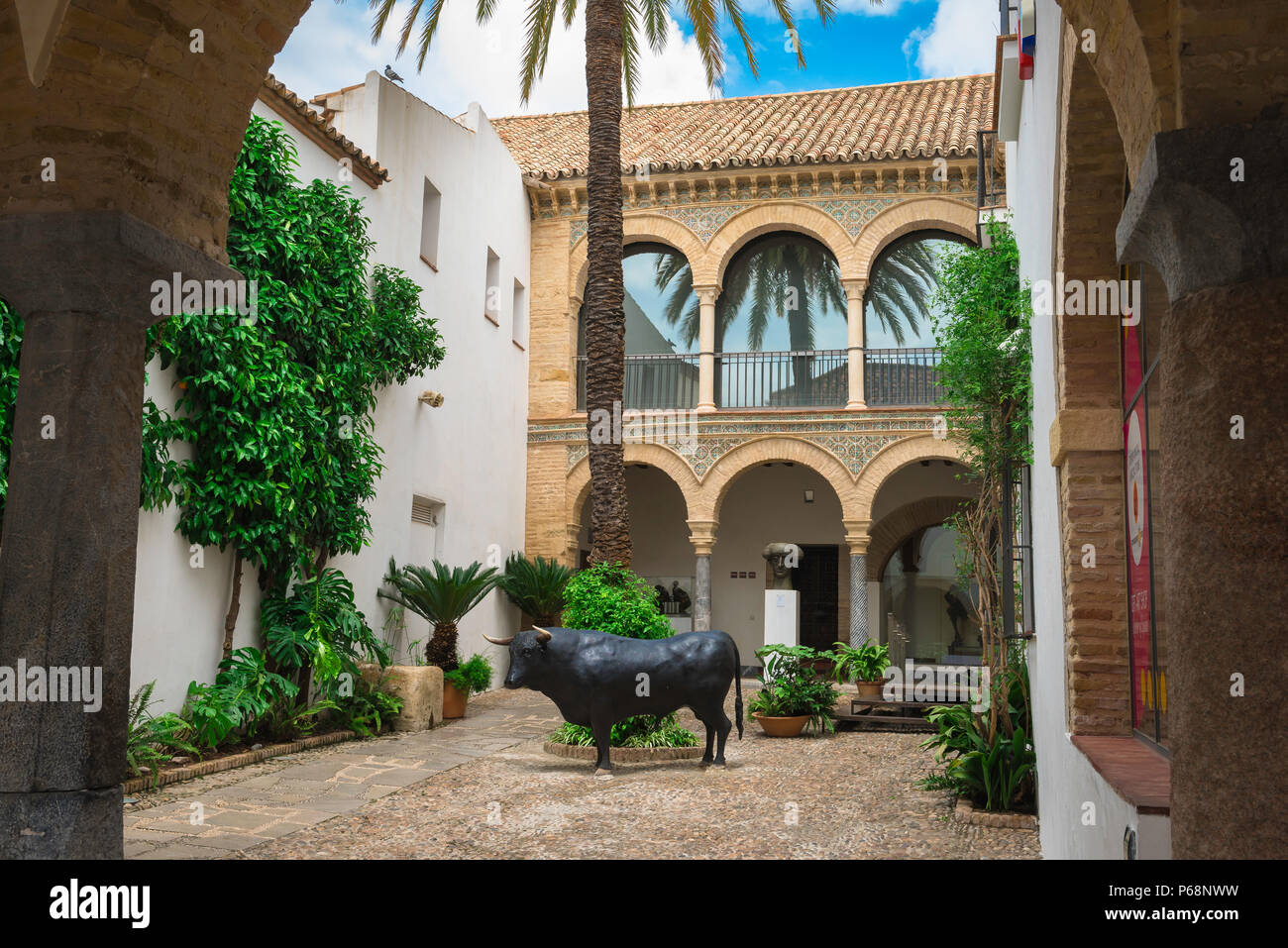 Cordoba Taurino, view of the typically Andalucian patio courtyard of the Bullfighting Museum (Museo Taurino) in Cordoba (Cordova), Andalucia, Spain. - Stock Image