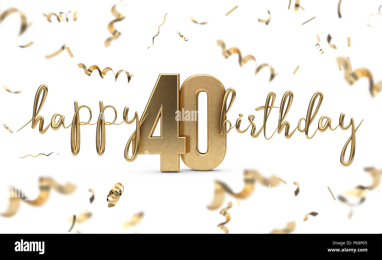 happy 40th birthday gold greeting background  3d rendering stock photo  210405221