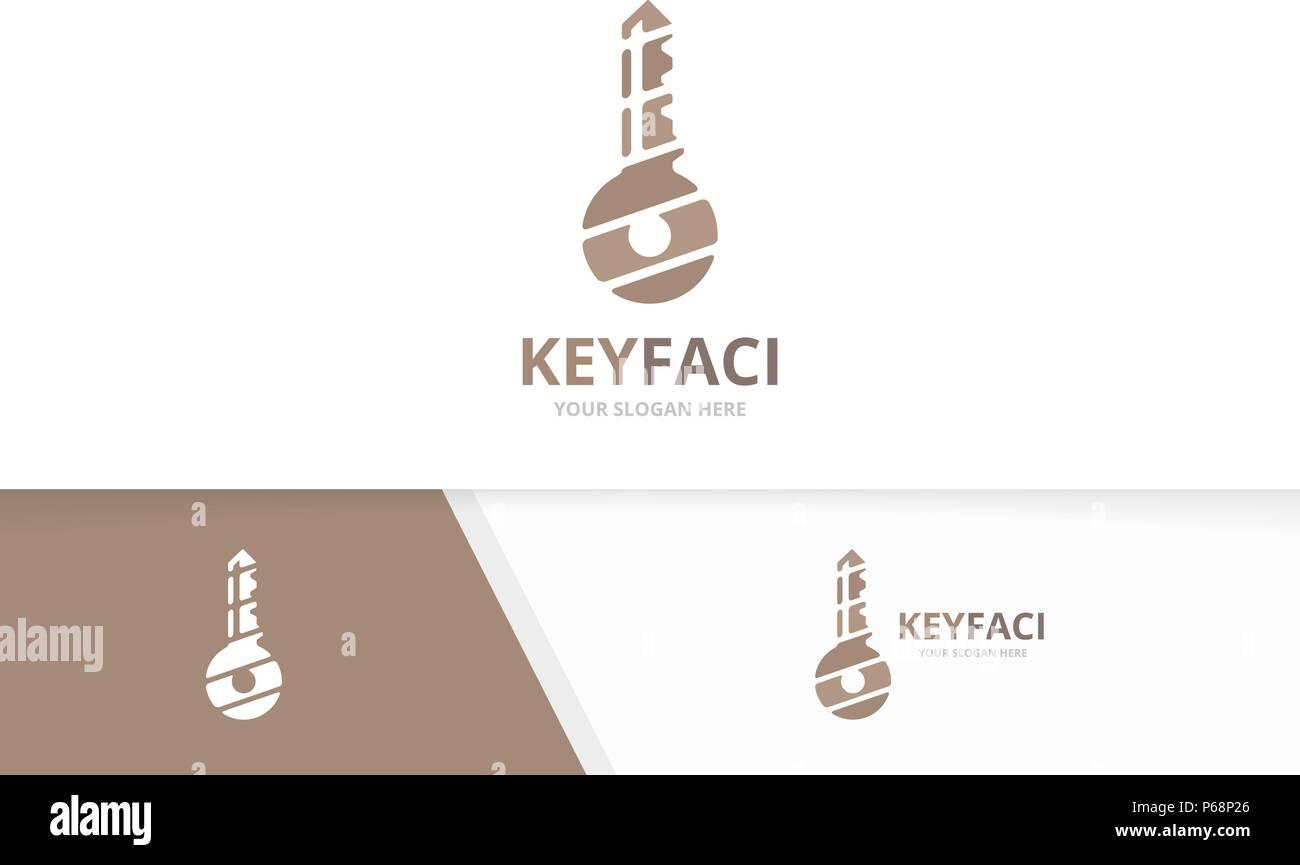 Vector key logo combination. Lock symbol or icon. Unique house logotype design template. - Stock Vector