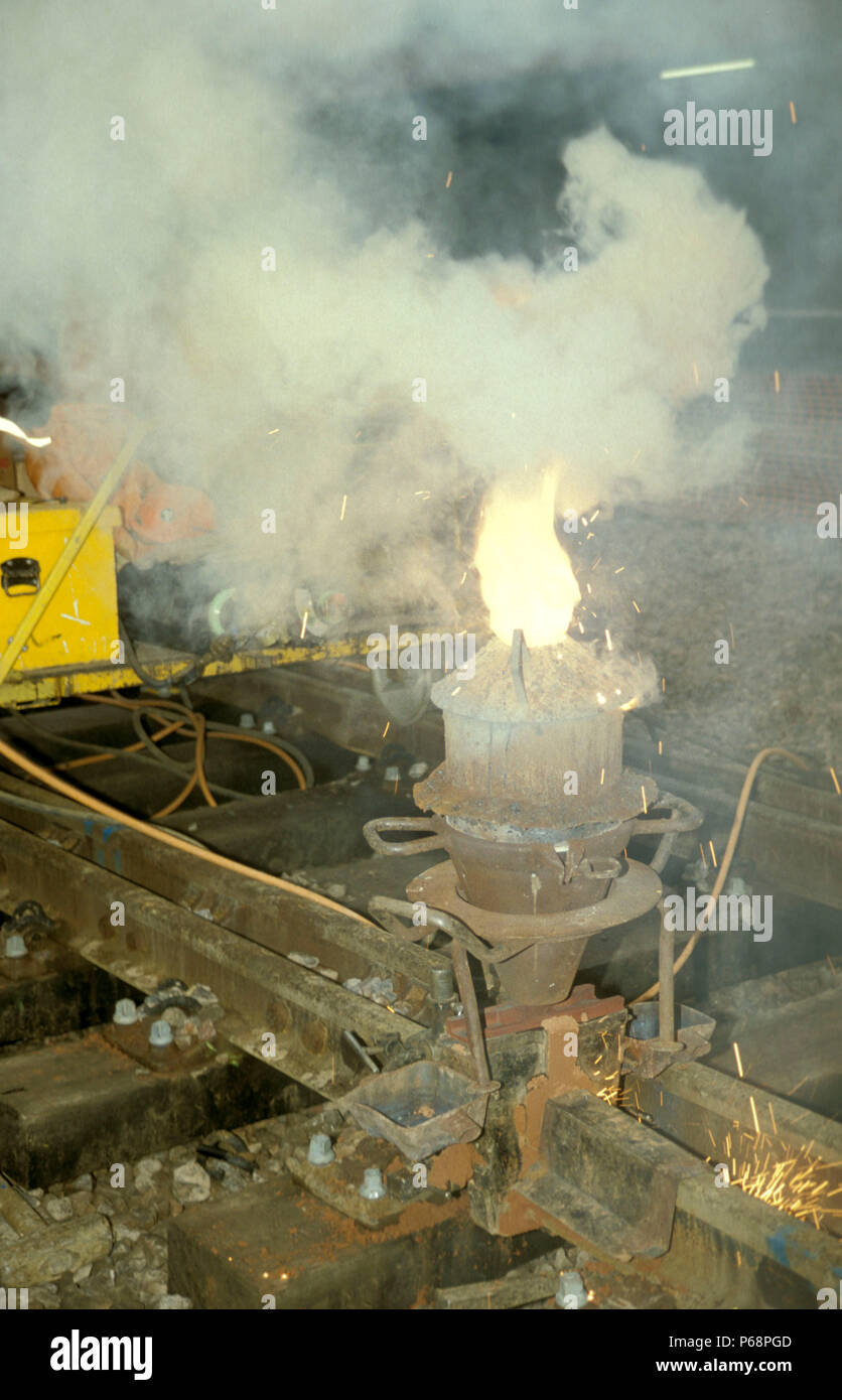Thermit welding to join tracks. C1991 - Stock Image