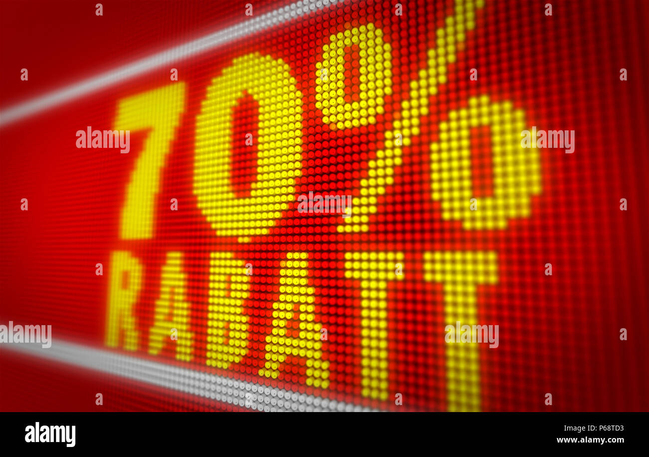 Verkauf (sale in german) 70% title on big LED display. Promotional message 3d illustration. - Stock Image