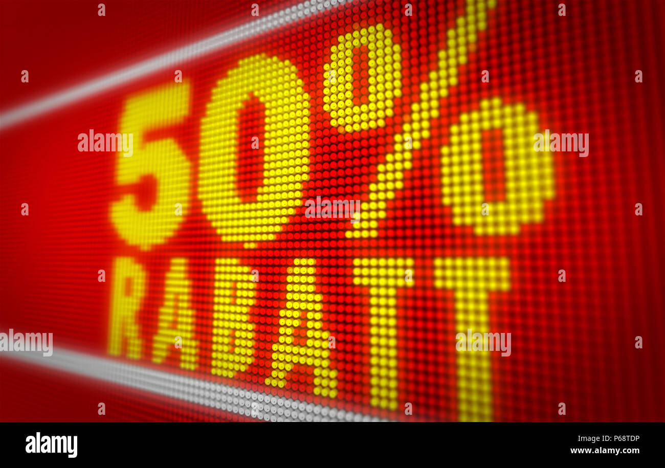 Verkauf (sale in german) 50% title on big LED display. Promotional message 3d illustration. - Stock Image