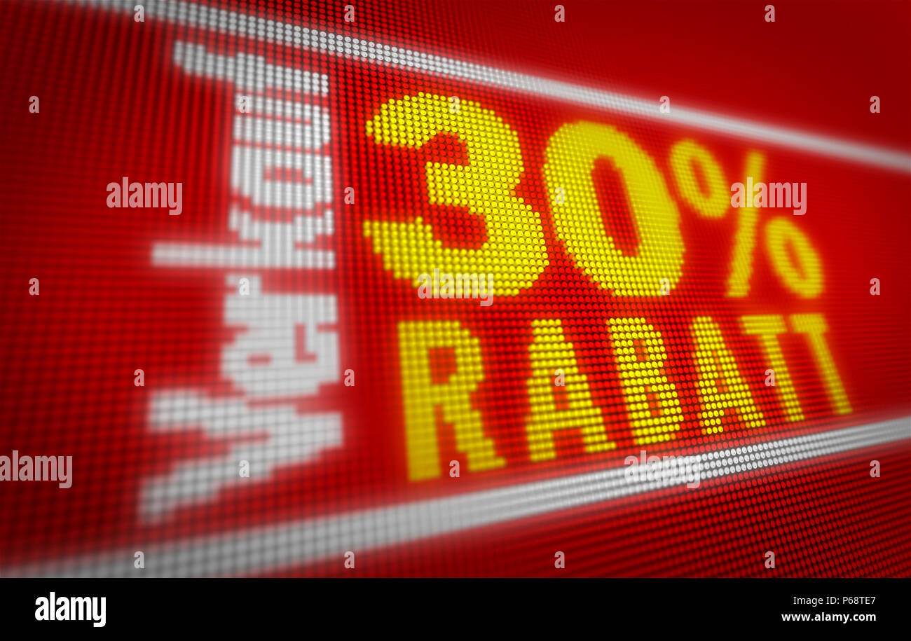 Verkauf (sale in german) 30% title on big LED display. Promotional message 3d illustration. - Stock Image