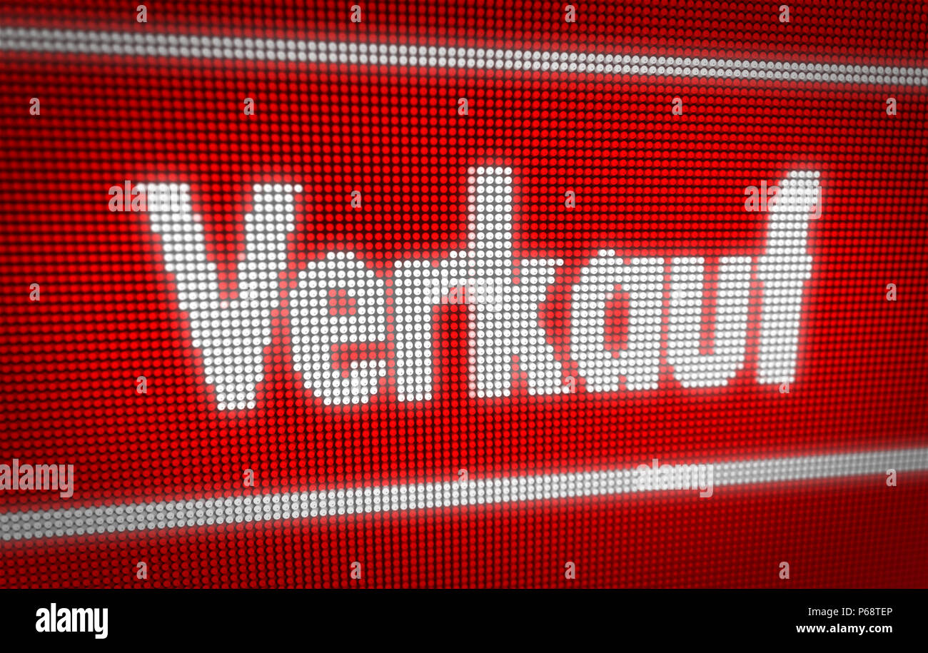 Verkauf (sale in german) title on big LED display. Promotional message 3d illustration. - Stock Image