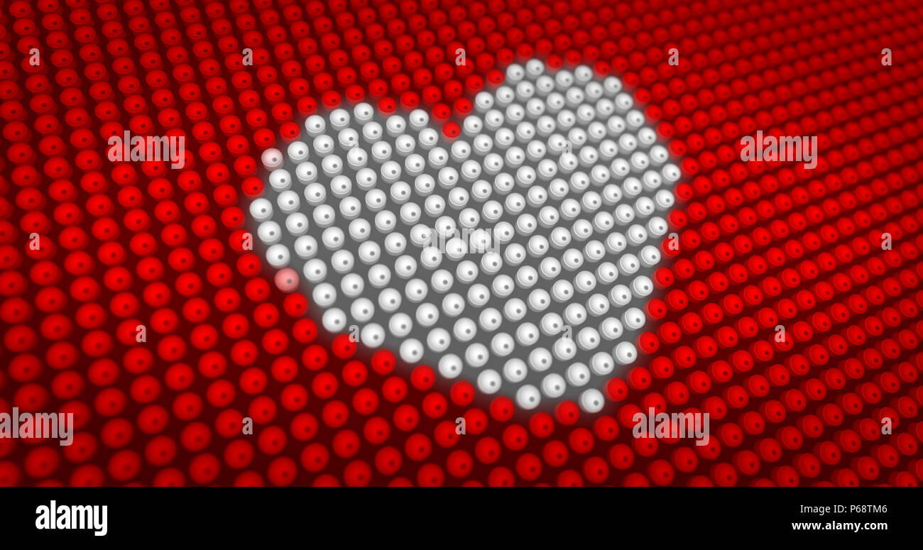 White Heart Symbol Beating On Large Led Display With Big Pixel