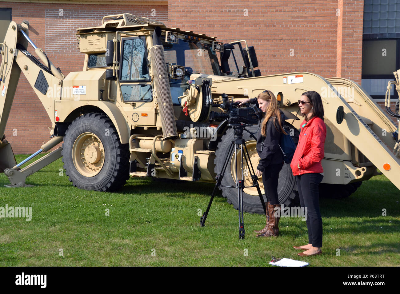 A News Crew From WWTV Channels 9 And 10 In Northern Michigan Films High School Students Interacting With Members Of The Sault Ste