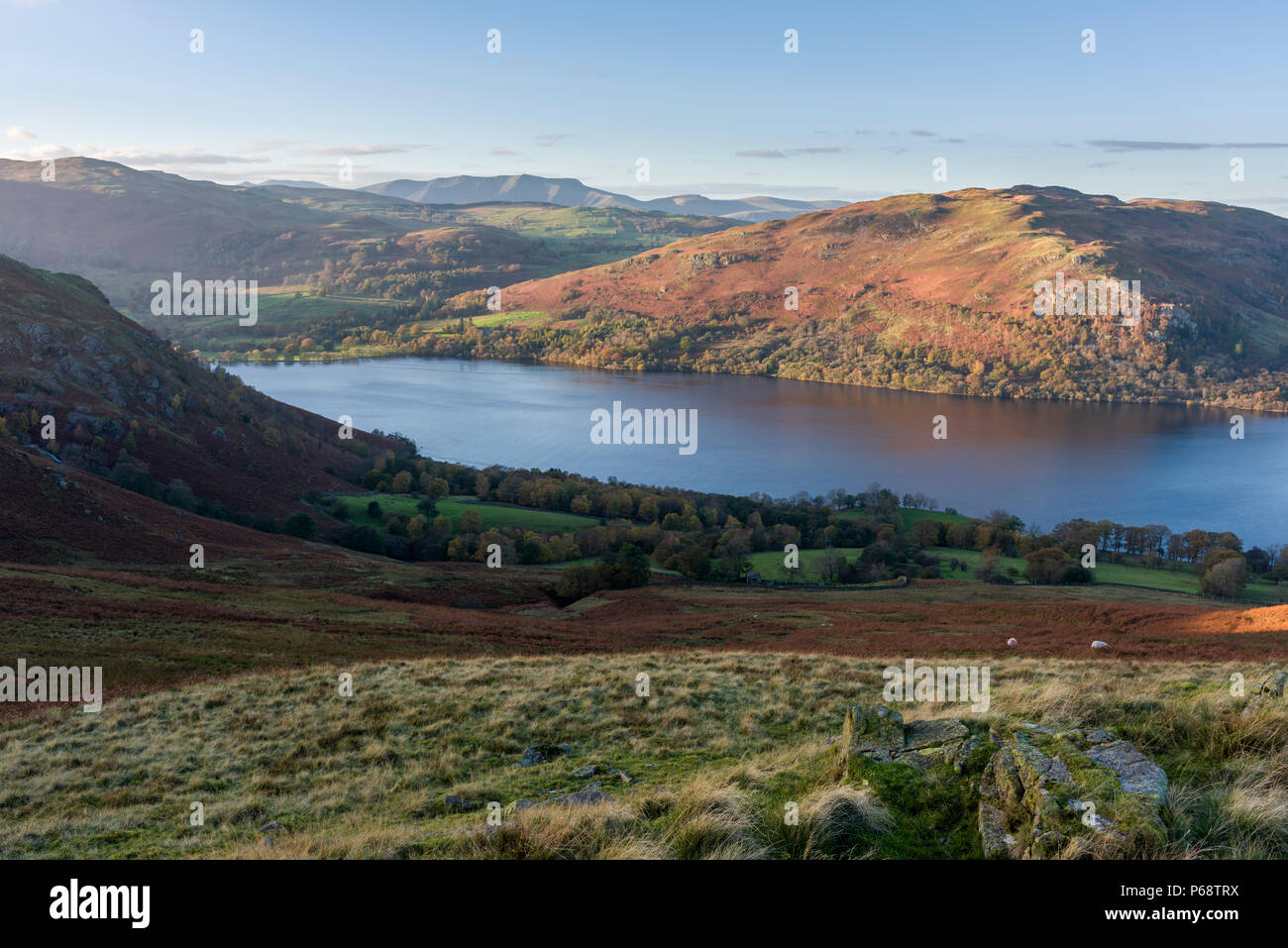 Gowbarrow Fell and Ullswater from Sleet Fell in the Lake District National Park, Cumbria, England. - Stock Image