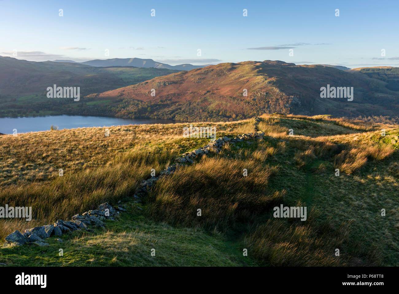 Sleet Fell with Ullswater and Gowbarrow Fell beyond in the Lake District National Park, Cumbria, England. - Stock Image