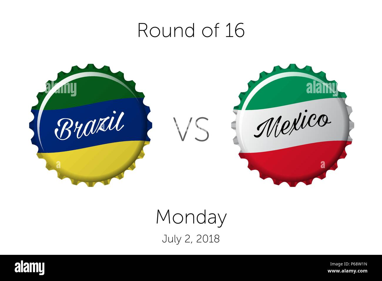 Soccer championship | Round of 16 - Brazil VS Mexico - July 2, 2018 - Stock Vector