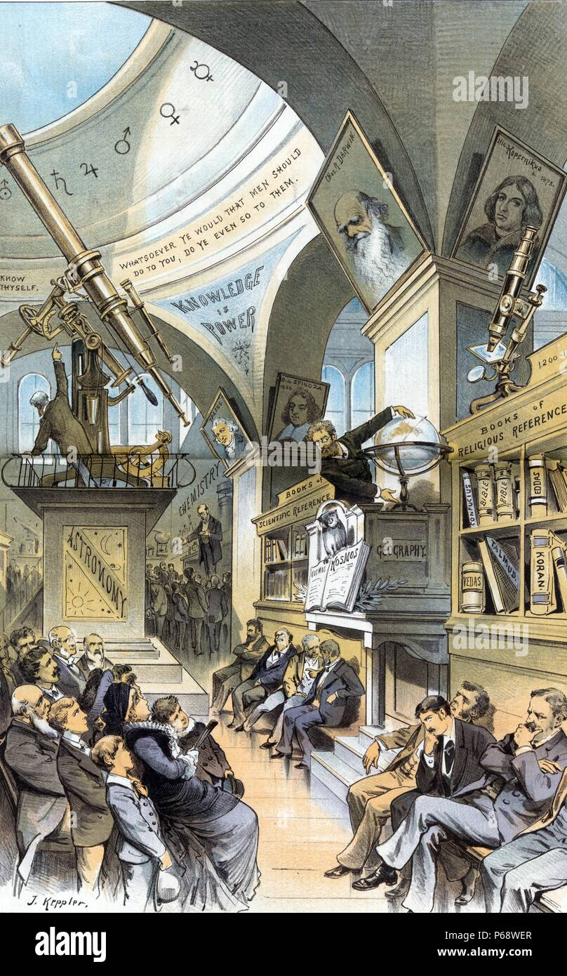 The universal church of the future - from the present religious outlook.' Illustration shows an interior view of a hall in a museum with four men sitting quietly beneath a shelf of 'Books of Religious Reference'; there is a small crowd gathered before them. Further along the hall is another group of four men sitting quietly beneath a shelf of 'Books of Scientific Reference'; part of the display, labelled 'Geography', shows an owl perched on an open book labelled 'Kosmos' and a man standing next to a globe. Stock Photo