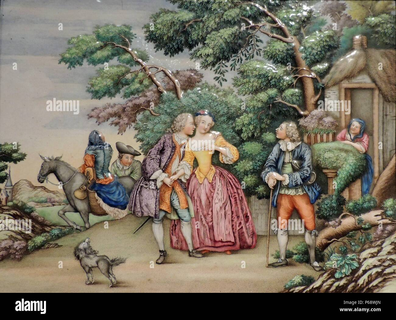 Plaque depicting scene with European people for a Dutch traders home in Canton made circa 1770-1775. Showing Dutch trade with China in 18th Century - Stock Image