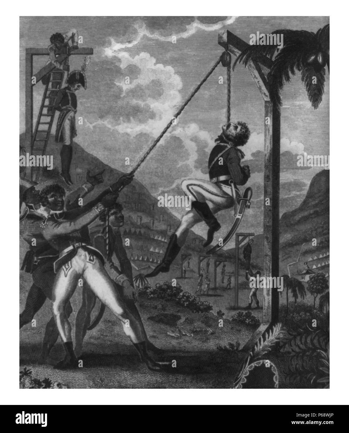 Haiti; Revolution, 1791-1804. Haitians hanging French officers; revenge taken by the Black Army for the cruelties practised by the French - Stock Image