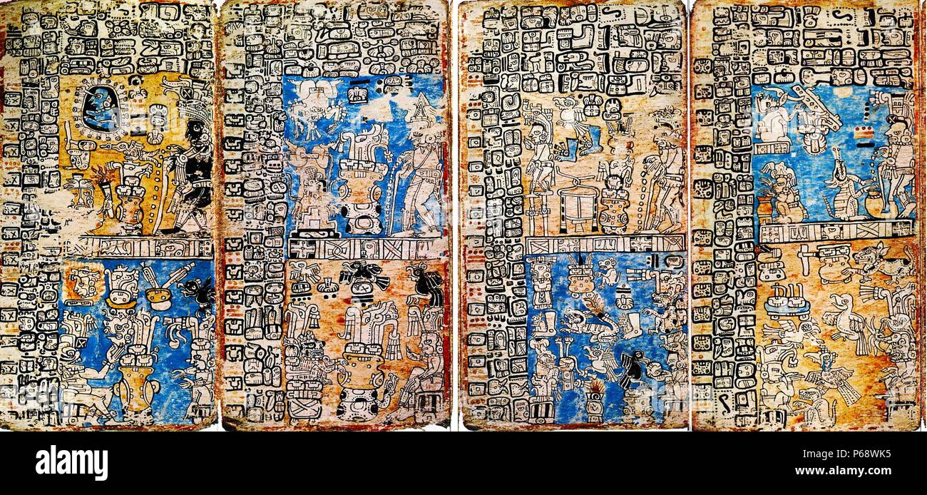The Madrid Codex (also known as the Tro-Cortesianus Codex or the Troano Codex). One of three surviving pre-Columbian Maya books dating to the Post classic Period of Mesoamerican chronology (c. 900–1521 AD) - Stock Image