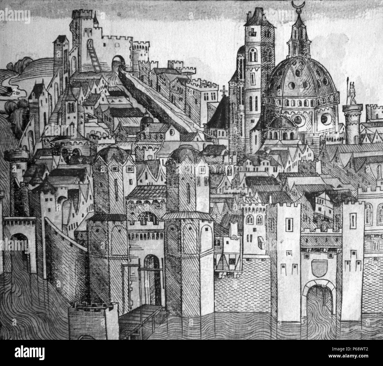 Marseille 1493. Illustration from the Nuremberg Chronicle by Hartmann Schedel (13 February 1440 – 28 November 1514) - Stock Image
