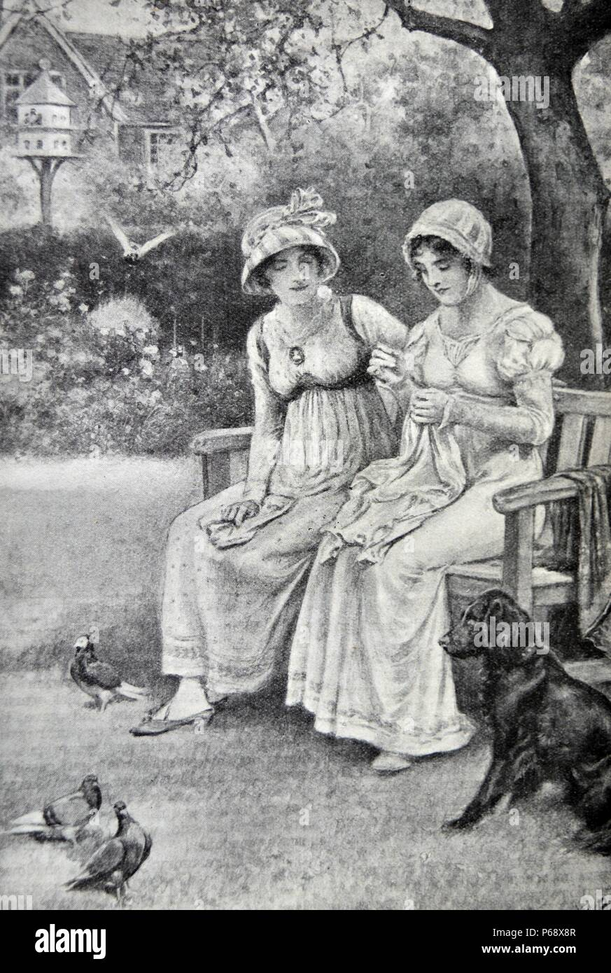 Engraving of Jane Austen and her sister Cassandra doing needlework in the rectory garden. Dated 1810 - Stock Image