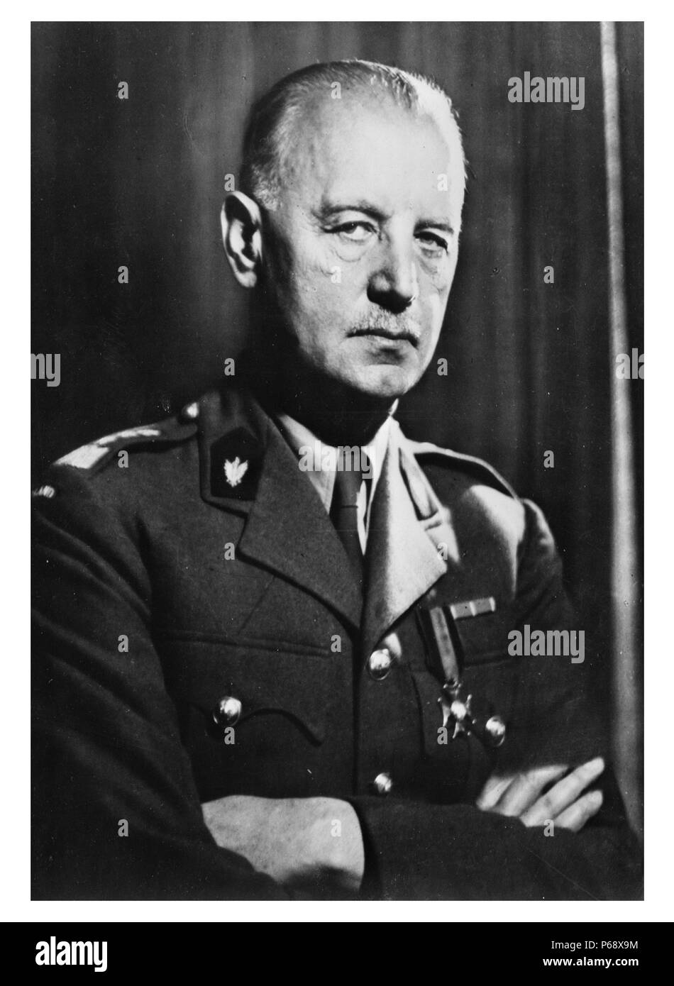 Photograph of Wladyslaw Sikorski (1881-1943) was a Polish military and political leader. Dated 1939. - Stock Image