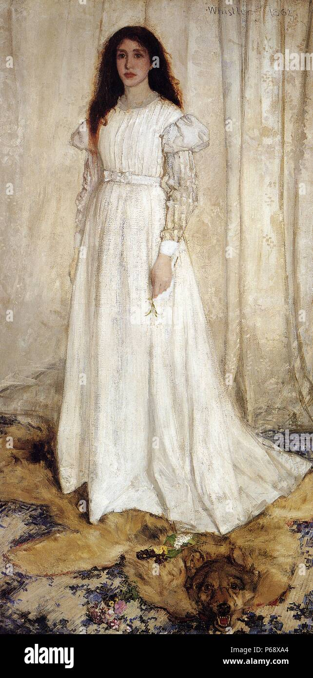 Symphony in White No 1, painted by James Whistler (1834-1903) an American-born British-based artist active during the American Gilded Age. Dated 1862. - Stock Image