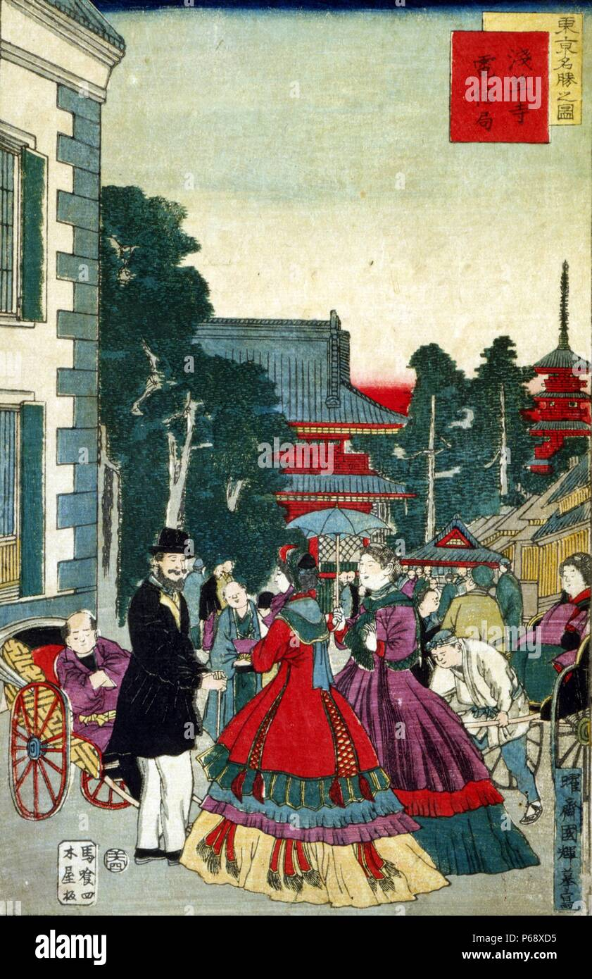 Japanese hand coloured woodcut image shows a scenic shot of the japanese hand coloured woodcut image shows a scenic shot of the asakusa section of tokyo people greet each other in the street as they pass the telegraph m4hsunfo