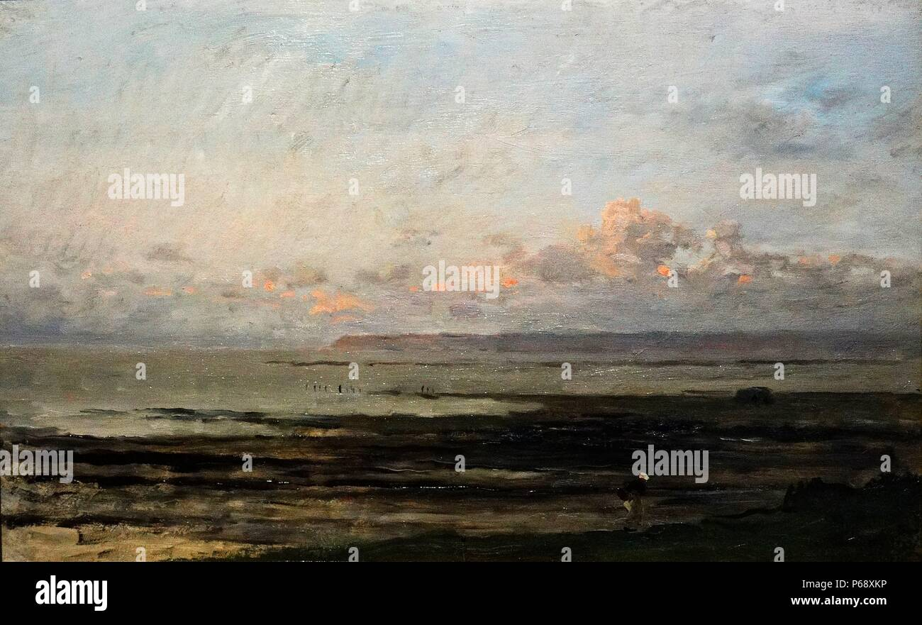 Painting titled 'Beach at Ebb Tide' painted by Charles-François Daubigny (1817-1878) painters of the Barbizon school, and is considered an important precursor of Impressionism. Dated 1878 - Stock Image
