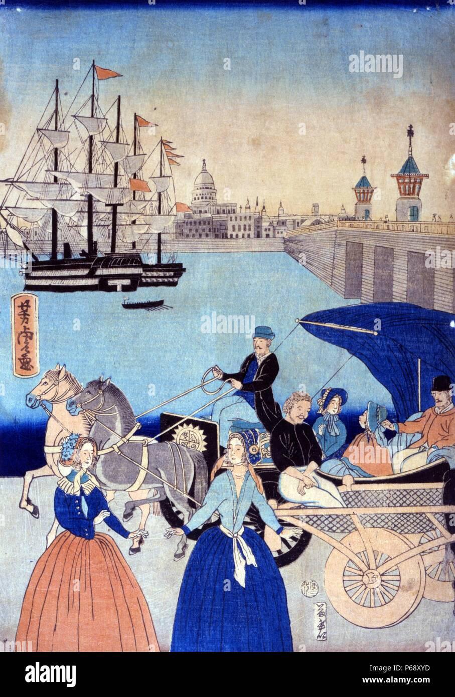 Colour illustration of London, titled Igirisukoku rondon zu, by Yoshitora Utagawa (active 1850-1880). Dated 1866 - Stock Image
