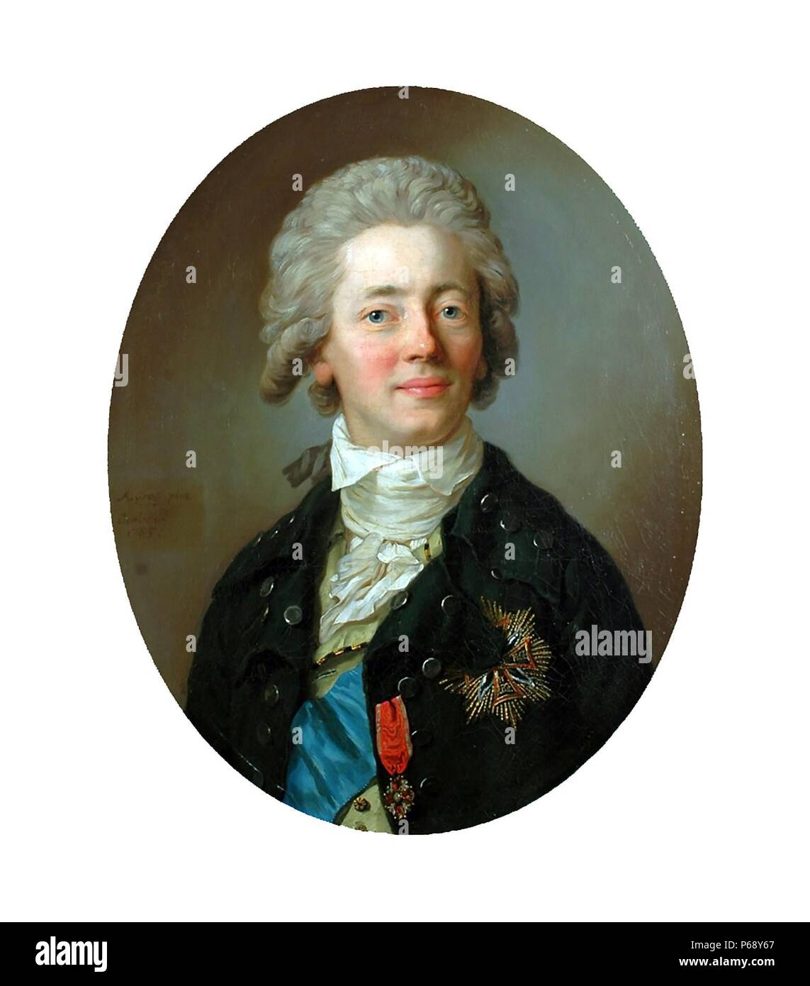 Portrait of Count Stanislaw Kostka Potocki (1755-1821) Polish noble, Politician, writer, publicist, collector and patron of art. Dated 1800 - Stock Image