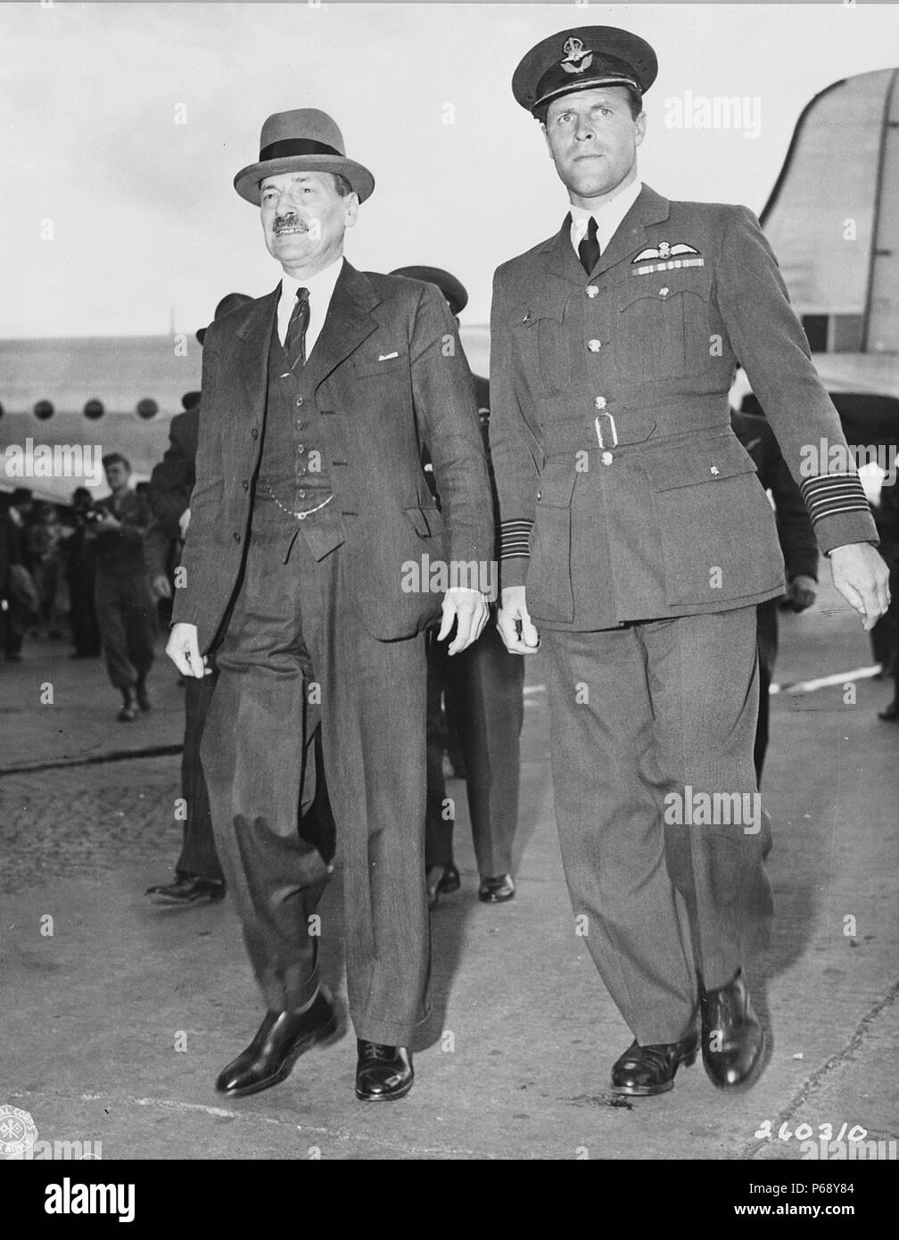 Photograph of Clement Attlee (1883-1967), arriving at Berlin-Gatow airfield, Berlin. Arriving for the Potsdam Conference after World War Two. Dated 1945 - Stock Image
