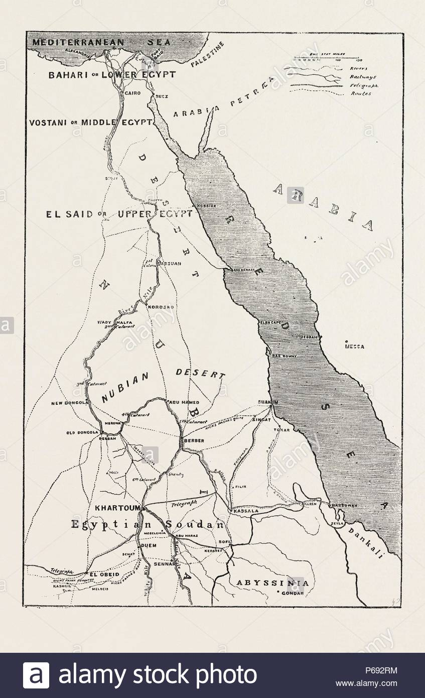The Rebellion In The Soudan Sudan Map Showing Upper Egypt And The
