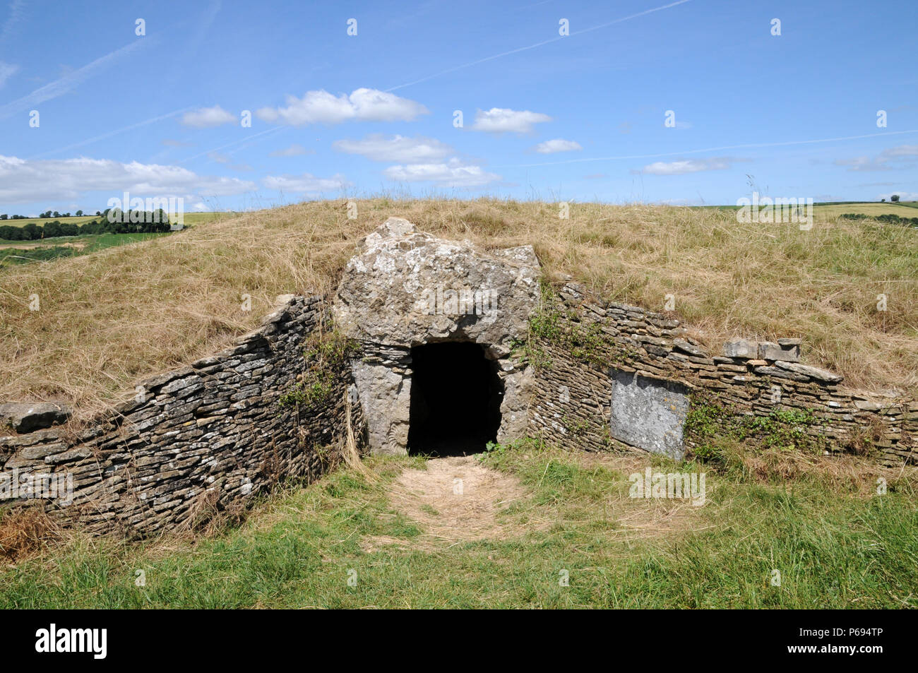 Stoney Littleton Longbarrow, near Bath in the west of England, is one of the country's finest accesible Neolithic chambered tombs. Stock Photo