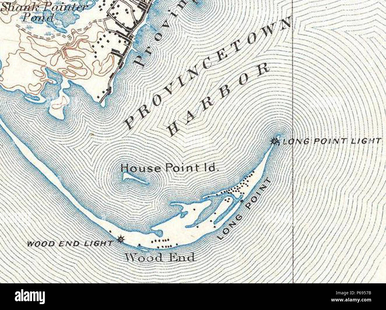 1889 USGS Long Point Provincetown. Extracted from 'File:1900 U.S. Geological Survey Map of Provincetown, Cape Cod, Massachusetts - Geographicus - Provincetown-USGS-1900.jpg'  Topographic Map of Provincetown, Massachusetts, including the northern part of Truro, Massachusetts. Scale: 1/62,500; Contour interval 20 feet; Datum: mean Sea Level. Surveyed in 1887.  July 1889 edition, reprinted January 1900. Henry Gannett, Chief Geographer; Marcus Baker, Geographer in charge. - Stock Image