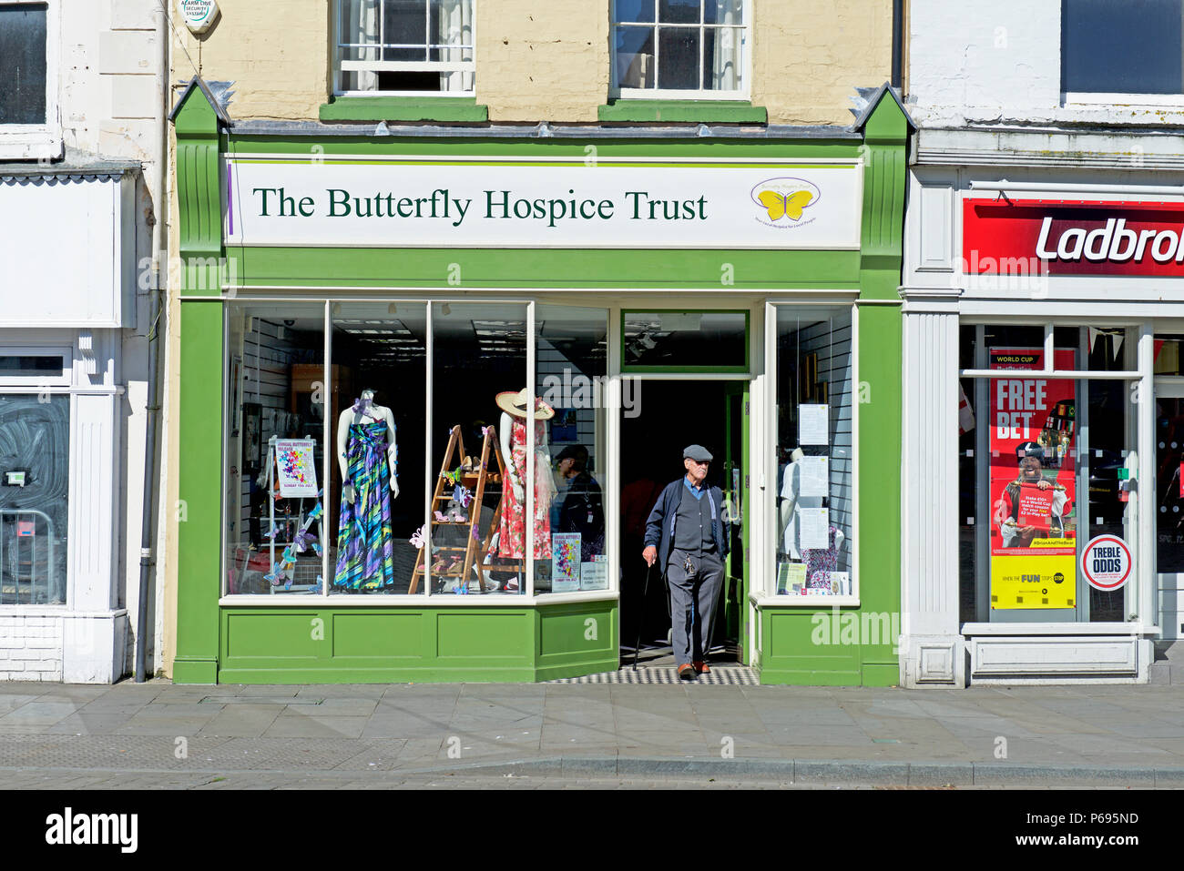 Charity shop - The Butterfly Hospice Trust - Boston, Lincolnshire, England UK - Stock Image