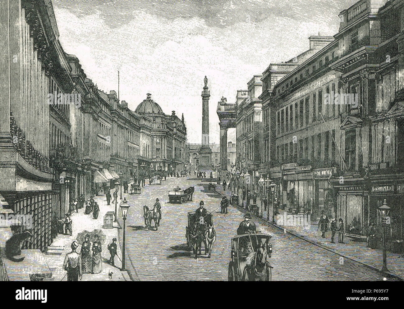 Grey Street, Newcastle upon Tyne, 1830s, named after prime minister Earl Grey, looking towards Grey's monument, erected after Great Reform Act of 1832 - Stock Image