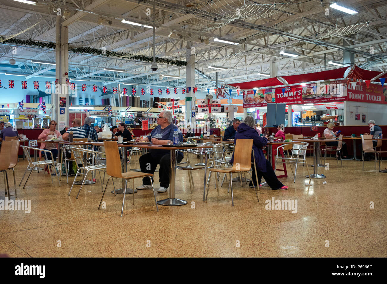 Cafe and eating area in the central covered market of Ellesmere Port - Stock Image