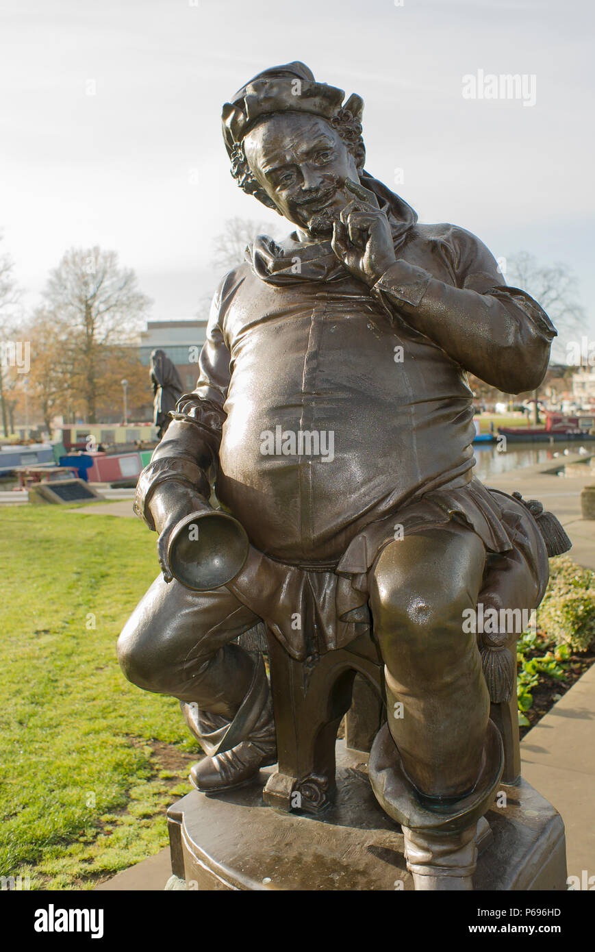 Statue of Falstaff, a Shakespearean character, in the Bancroft Gardens Stratford on Avon England UK - Stock Image