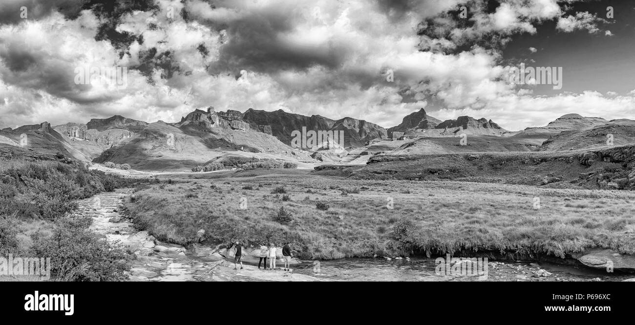 GARDEN CASTLE, SOUTH AFRICA - MARCH 25, 2018: Garden Castle in the Drakensberg. Hermits Wood Camp Site is visible between the trees in the back and th Stock Photo