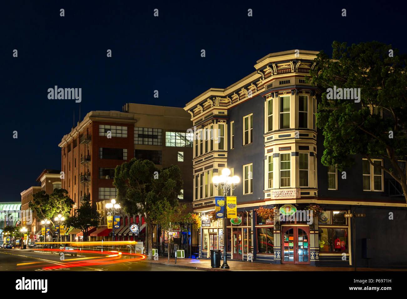Historic Gaslamp Quarter, San Diego, California USA - Stock Image