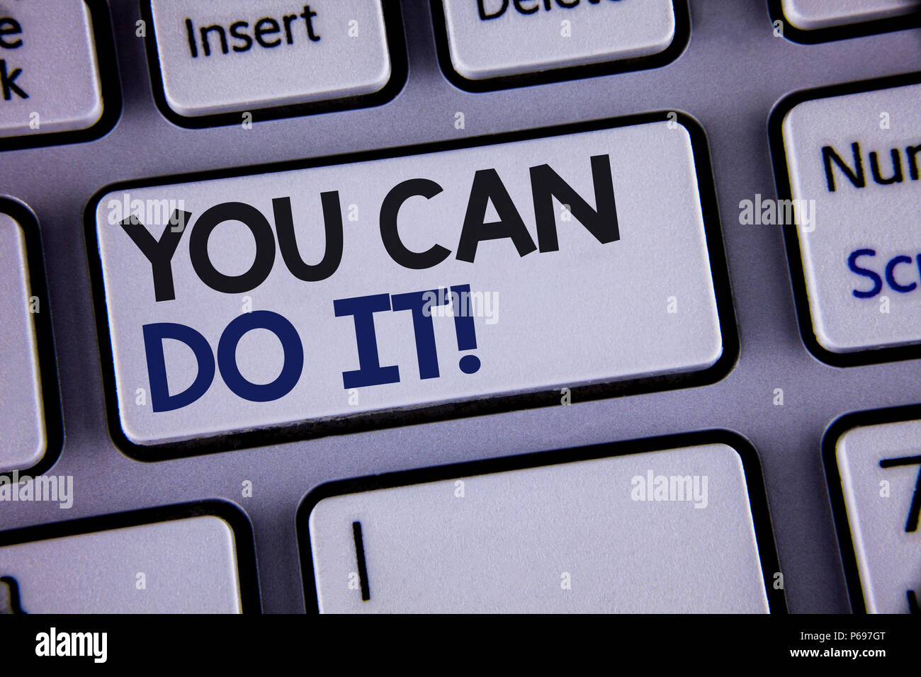 Conceptual hand writing showing You Can Do It Motivational Call. Business photo showcasing Inspirational Message Motivational Positive Text two words  - Stock Image