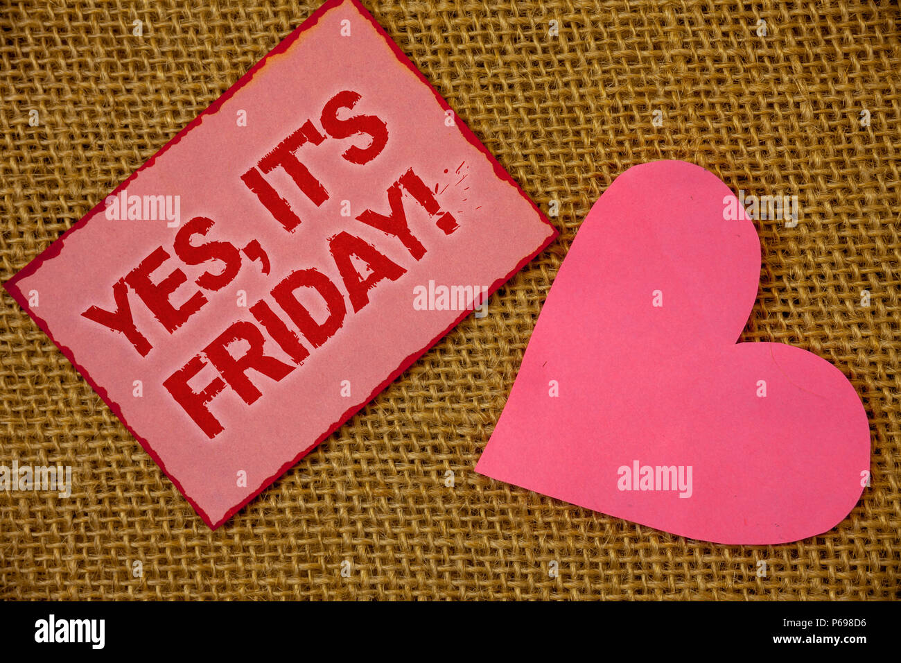 Writing note showing Yes, It'S Friday Motivational Call. Business photo showcasing having weekend Taking rest break Lavender pink page with red border - Stock Image