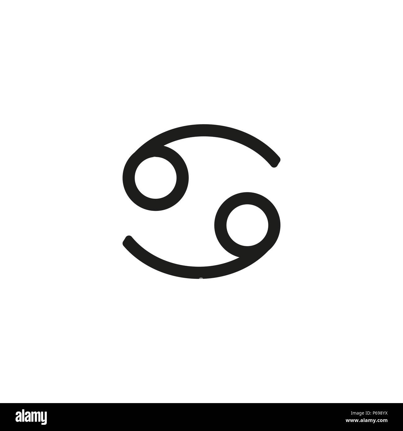 Cancer Zodiac Sign Pictogram Calligraphic Zodiac Signs Vector