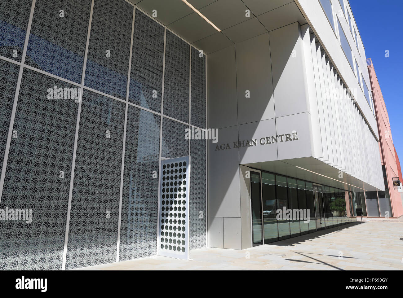 Designed by Japan's Fumihiko Maki, the new Kings Cross Aga Khan Centre shows the wonders of the Islamic world, in London, UK - Stock Image