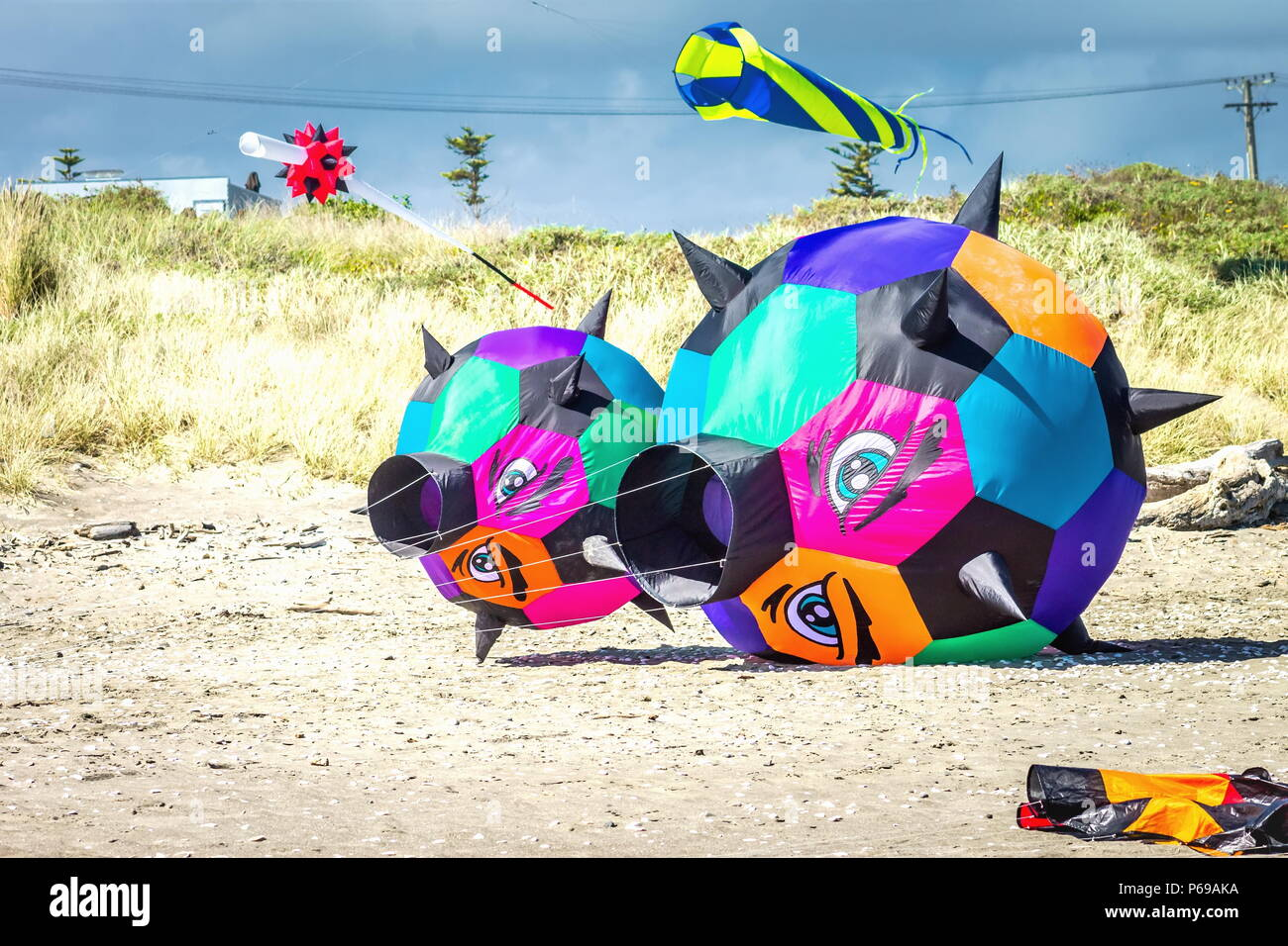 Otaki, New Zealand - March 3 2016: Brightly colored kites on the Beach are part of the annual Otaki Kite Flying Festival held each year in summer. Stock Photo