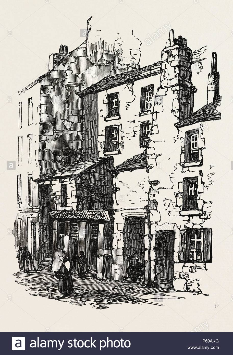 THE BRITISH ASSOCIATION AT DUNDEE: HOUSES IN OVERGATE, UK, 1867. - Stock Image