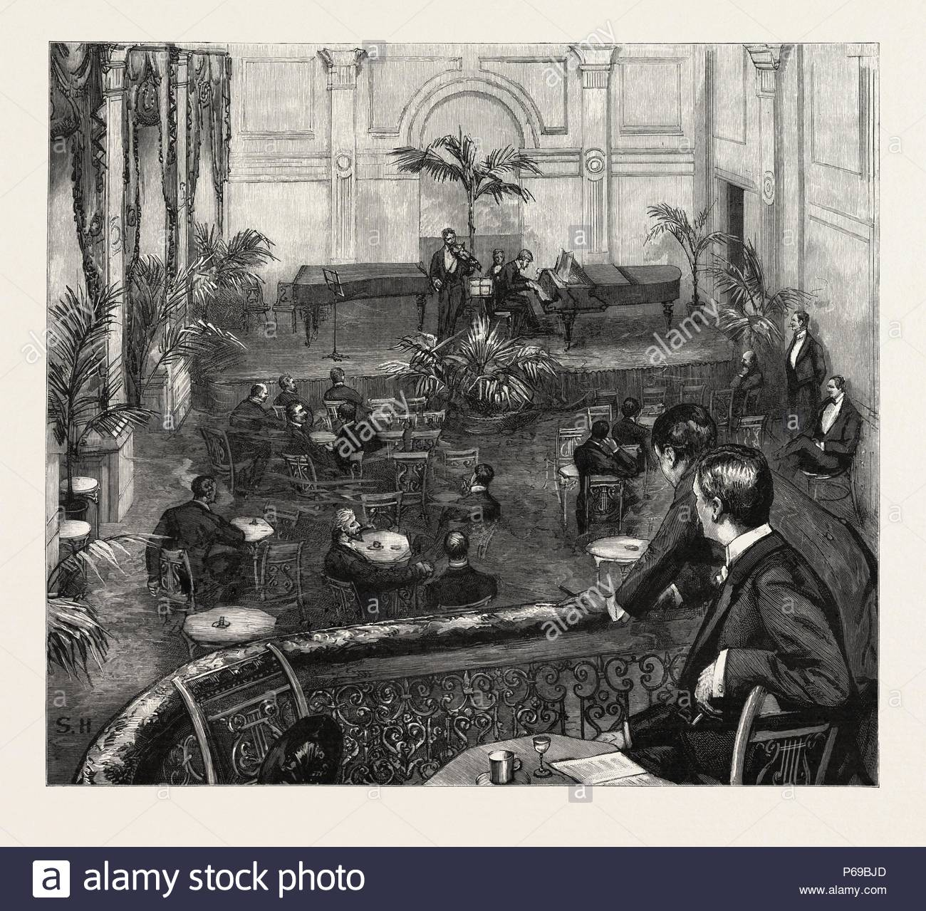 AN EVENING AT THE MEISTERSINGERS CLUB, ST. JAMES'S STREET, LONDON, engraving 1890, UK, U.K., Britain, British, Europe, United Kingdom, Great Britain, European. - Stock Image