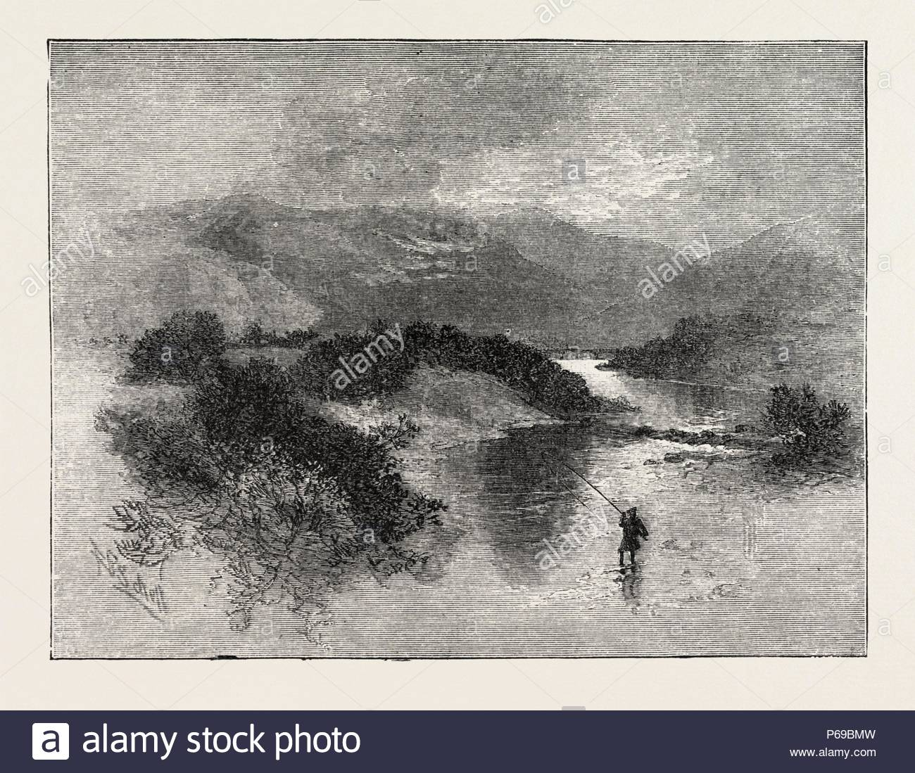 SIR WALER SCOTT, MARMION, An angry brook, it sweeps the glade, Brawls over rock and wild cascade, And, foaming brown with doubled speed, Hurries its waters to the Tweed., engraving 1884, UK, britain, british, europe, united kingdom, great britain, european. - Stock Image