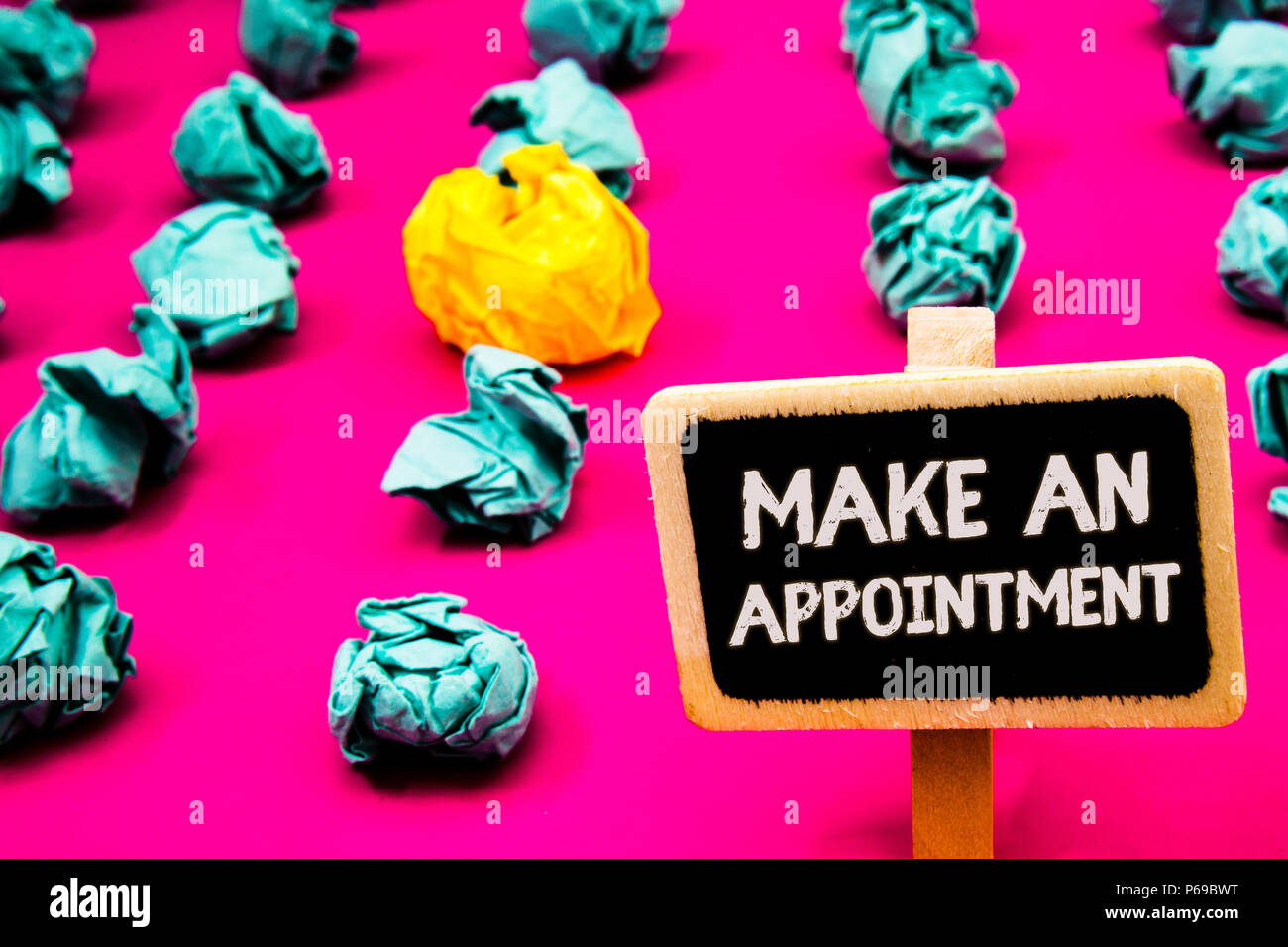 Conceptual hand writing showing Make An Appointment. Business photo text Schedule Arrangement Deadline Session Engagement Blackboard with white letter - Stock Image