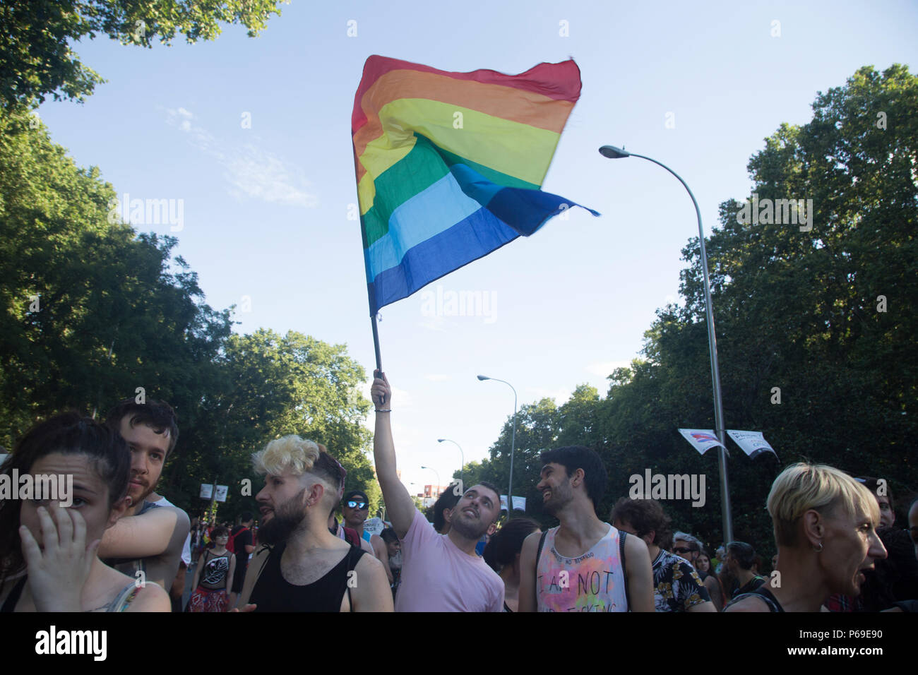 2d7d898e1f A LGBT activist holds a LGBT flag during the demonstration. Thousands of  LGBT activities marched