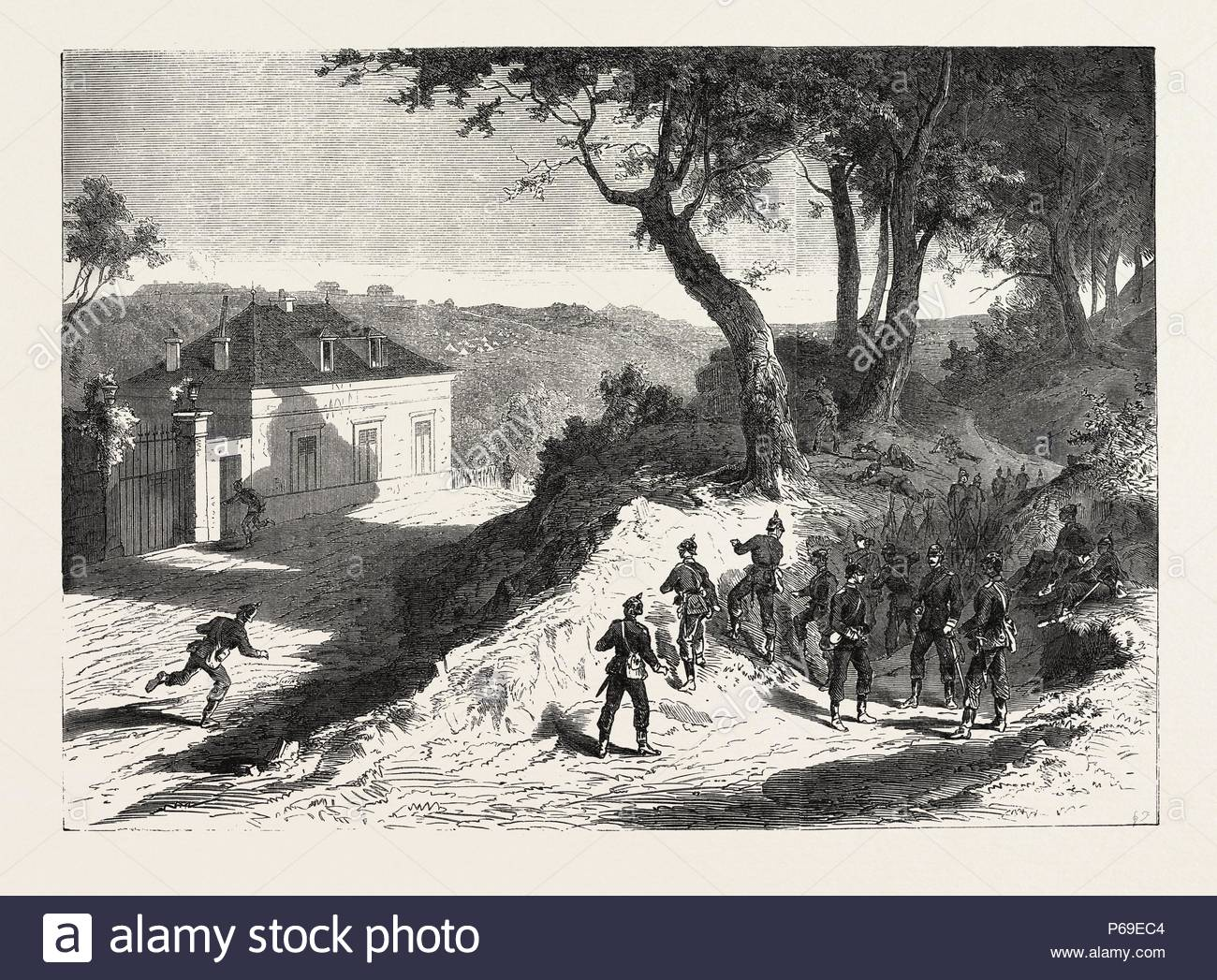 FRANCO-PRUSSIAN WAR: SAXONS FRONTLINES BEFORE THE FORT OF NOISY, FRENCH CAMP, FORT ROMAINVILLE, SUBURBS OF PARIS. - Stock Image