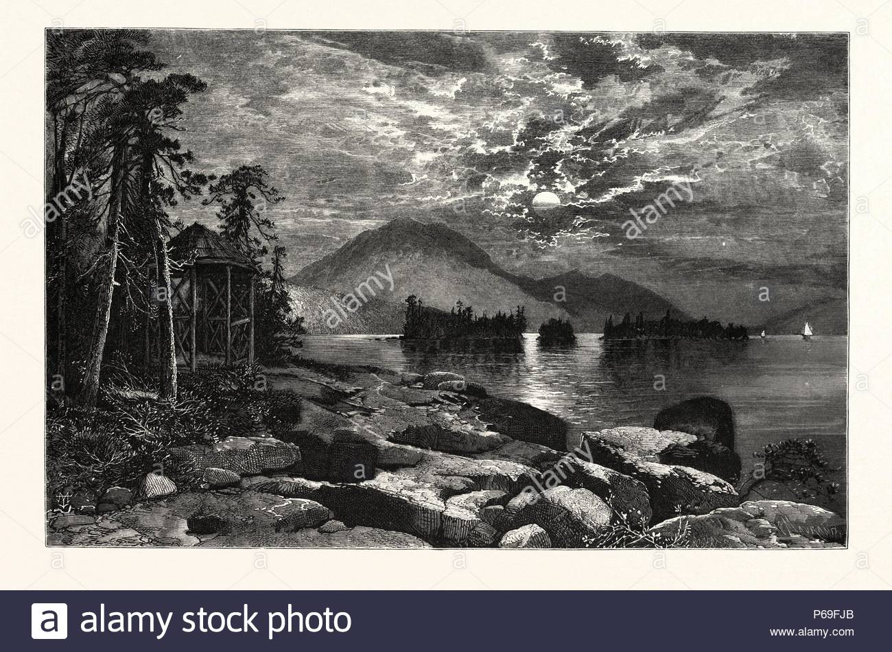 VIEW FROM FOURTEEN-MILE ISLAND, LAKE GEORGE. THOMAS MORAN, England was an American painter and printmaker of the Hudson River School in New York whose work often featured the Rocky Mountains. USA. - Stock Image