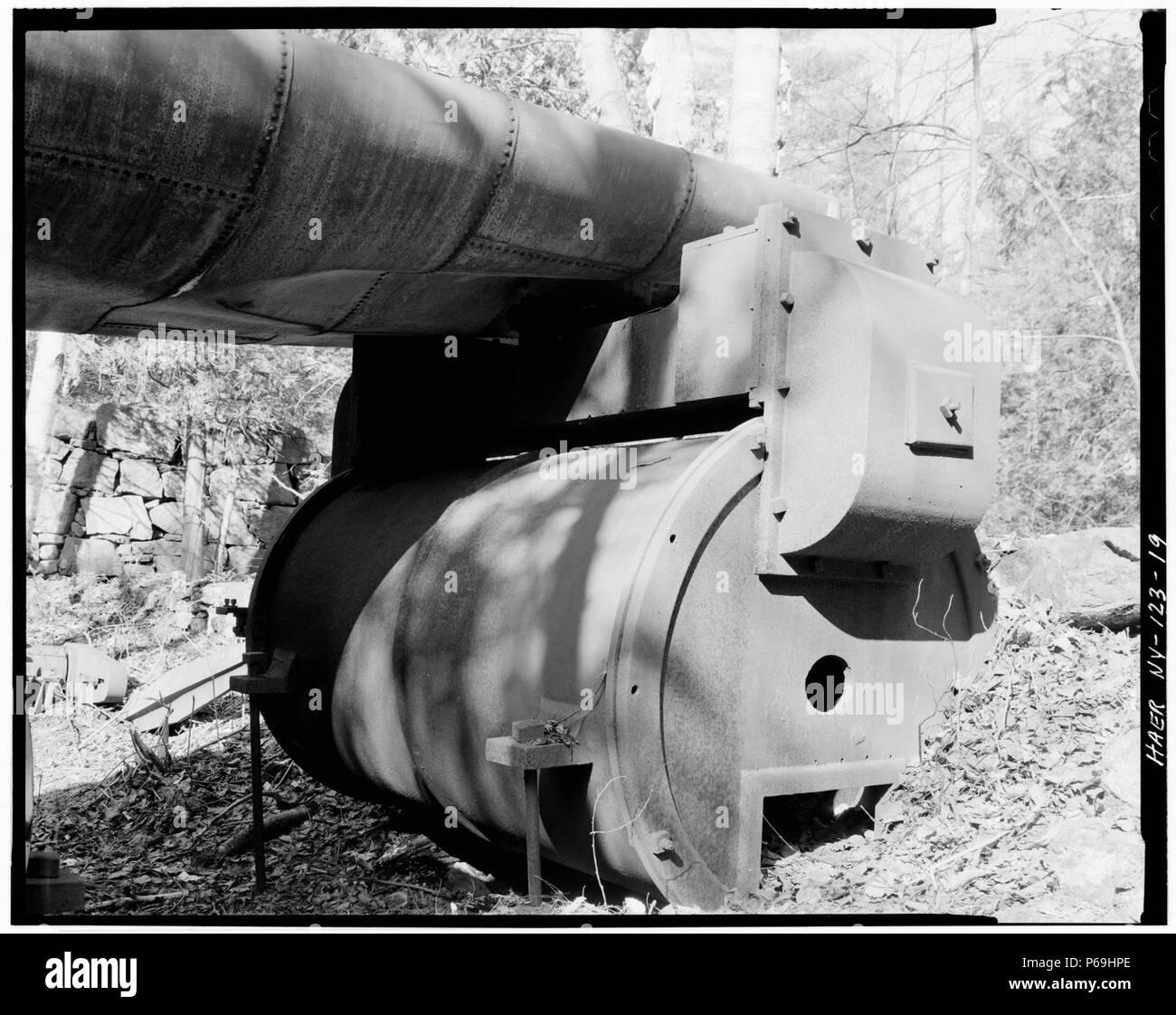 19. June, 1978. MCINTYRE IRON WORKS, DETAIL BLOWING ENGINE, FROM THE TAILRACE. - Adirondack Iron ^ Steel Company, New - LOC - hhh.ny0915.photos.116624p. - Stock Image
