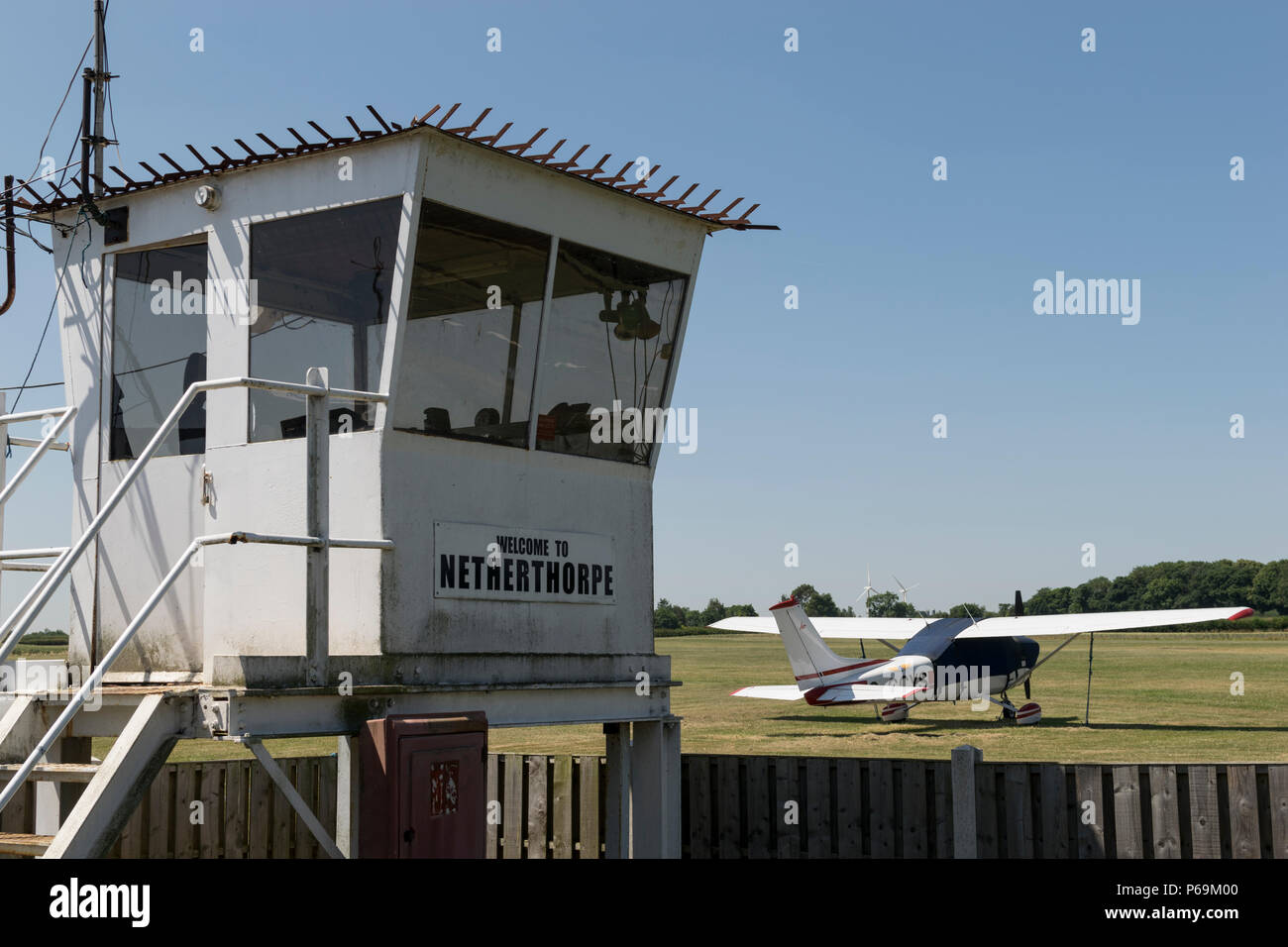 Control tower at Netherthorpe Airfield, the home of Sheffield Aero Club, near Shireoaks, Worksop - Stock Image